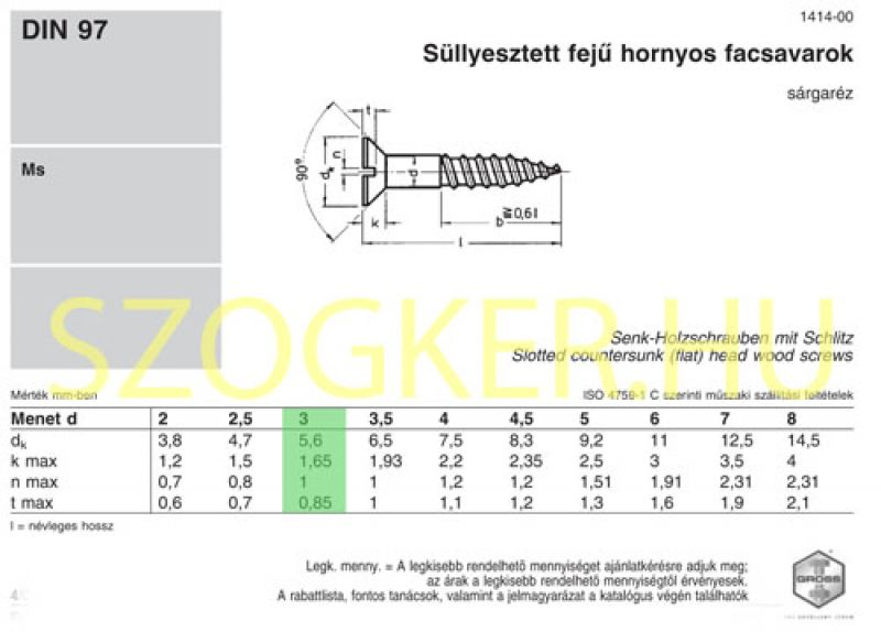 FACSAVAR SF D3.0*30 DIN 97 SÁRGARÉZ IMPORT FAFORGÁCS SFKH, DFKH, TORX FEJ