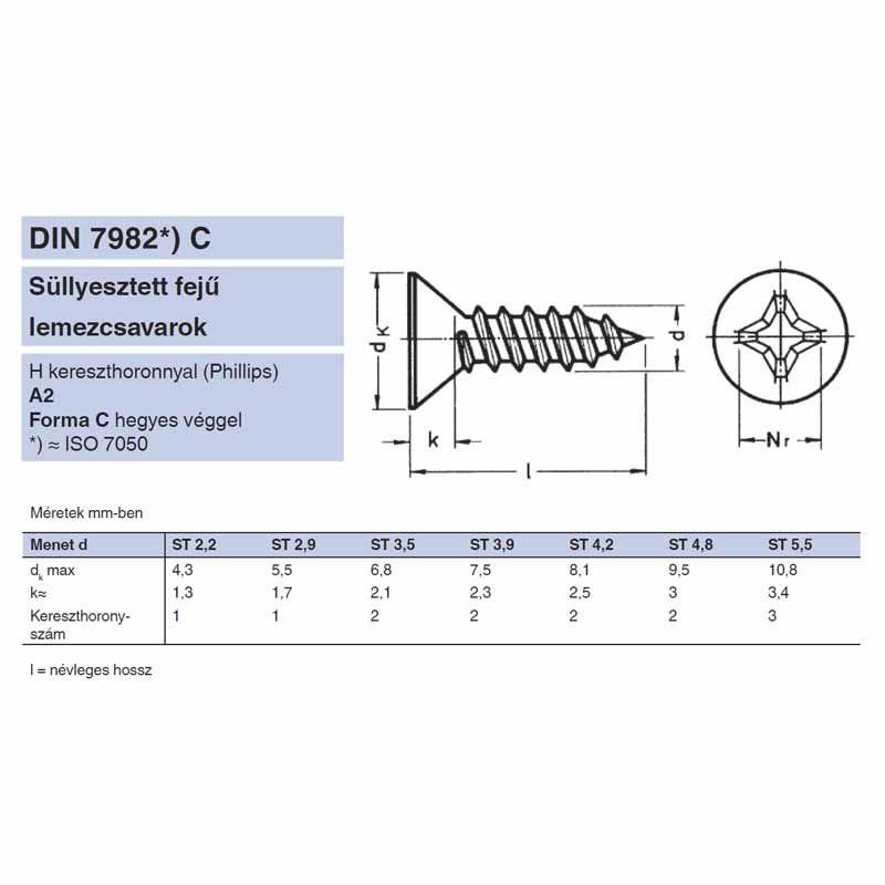 LEMEZCSAVAR SFKH D4.8*50 DIN 7982 A2 PH INOX