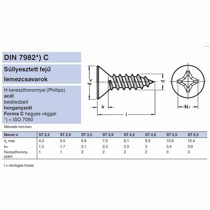 LEMEZCSAVAR SFKH D4.8*80 DIN 7982 HG. PH IMPORT