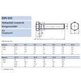HLF CSAVAR M08*016 TM DIN 933-8.8 HG.  METRIKUS CSAVAROK